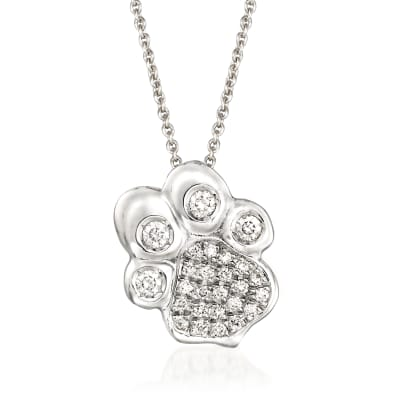 Italian Roberto Coin .25 ct. t.w. Diamond Paw Print Pendant Necklace in 18kt White Gold