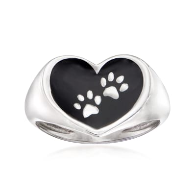 Italian Sterling Silver and Black Enamel Paw Print Heart Ring