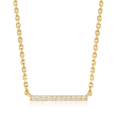 Diamond-Accented Bar Necklace in 18kt Gold Over Sterling