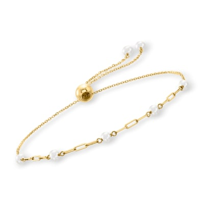 3-3.5mm Cultured Pearl and 14kt Yellow Gold Paper Clip Link Bolo Bracelet