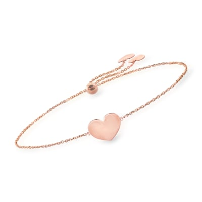 Italian 14kt Rose Gold Single-Initial Heart Bolo Bracelet