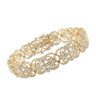 1.70 ct. t.w. Diamond Milgrain Openwork Bracelet in 14kt Yellow Gold