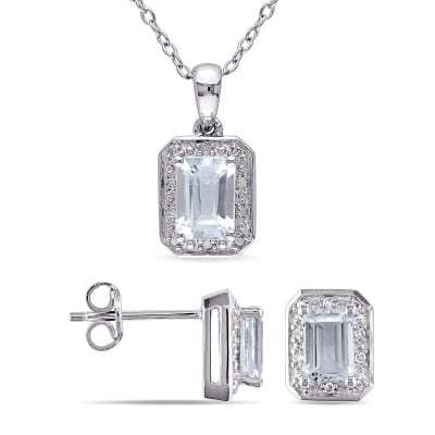 2.00 ct. t.w. Aquamarine and .12 ct. t.w. Diamond Jewelry Set: Necklace and Earrings in Sterling Silver
