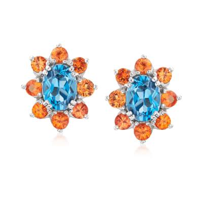 2.90 ct. t.w. London Blue Topaz and 1.90 ct. t.w. Orange Sapphire Drop Earrings in Sterling Silver