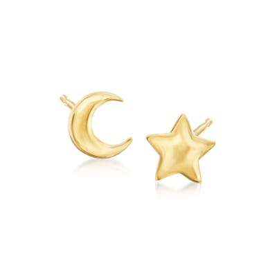 14kt Yellow Gold Star and Moon Mismatched Stud Earrings