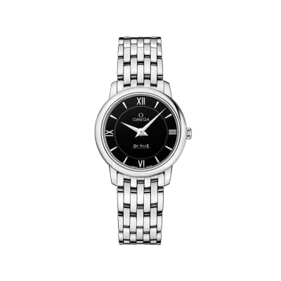 Omega De Ville Prestige Women's 27.4mm Stainless Steel Watch with Black Dial