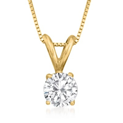.50 Carat Diamond Solitaire Necklace in 14kt Yellow Gold
