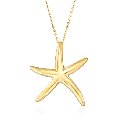 Italian 14kt Yellow Gold Starfish Pendant Necklace