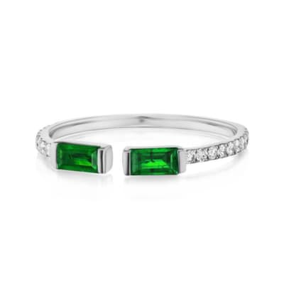 .30 ct. t.w. Emerald and .25 ct. t.w. Diamond Ring in 18kt White Gold