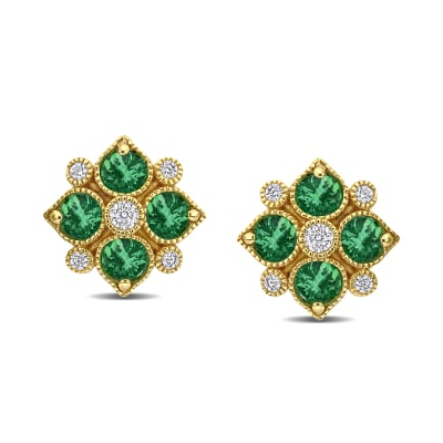 .72 ct. t.w. Emerald and .12 ct. t.w. Diamond Floral Stud Earrings in 14kt Yellow Gold