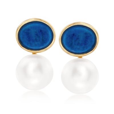13mm Cultured Pearl and Lapis Drop Earrings in 14kt Yellow Gold