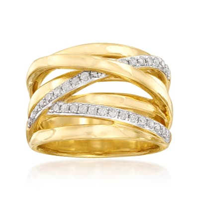 .34 ct. t.w. Diamond Highway Ring in Sterling Silver and 18kt Gold Over Sterling Silver