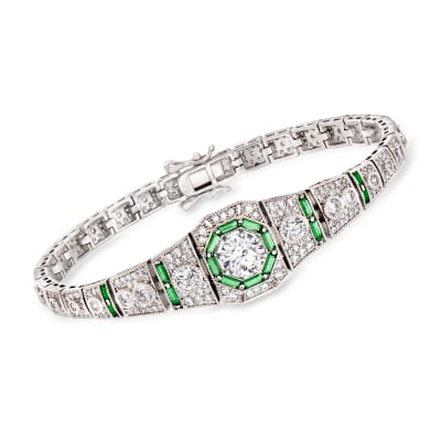 4.00 ct. t.w. CZ and .98 ct. t.w. Simulated Emerald Bracelet in Sterling Silver