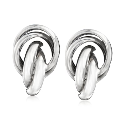 Italian Sterling Silver Knot Clip-On Earrings