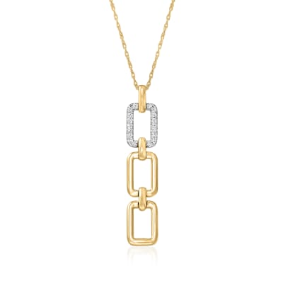 .10 ct. t.w. Diamond Paper Clip Link Drop Necklace in 14kt Two-Tone Gold