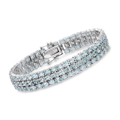 25.00 ct. t.w. Sky Blue Topaz Triple-Row Bracelet in Sterling Silver
