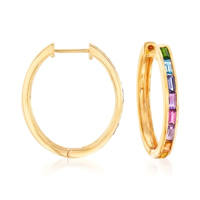 1.30 ct. t.w. Multi-Gem Hoop Earrings in 18kt Gold Over Sterling