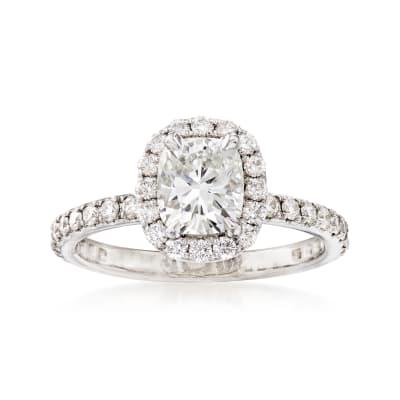 C. 2005 Vintage 1.58 ct. t.w. Diamond Halo Engagement Ring in Platinum