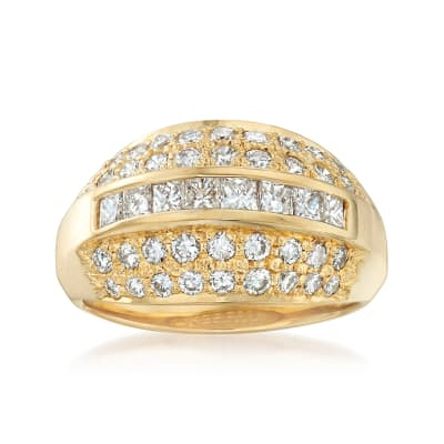 C. 1990 Vintage 1.60 ct. t.w. Diamond Ring in 18kt Yellow Gold