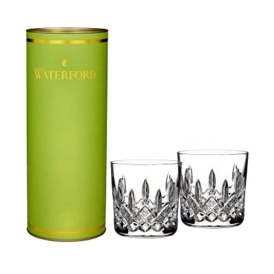"Waterford Crystal ""Giftology"" Set of Two Lismore Lowball Glass Tumblers"