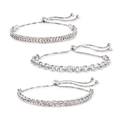 Sterling Silver Jewelry Set: Multi-Link Bolo Bracelets