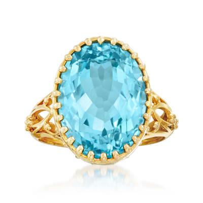 12.00 Carat Sky Blue Topaz Openwork Ring in 14kt Yellow Gold