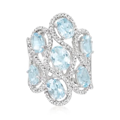 5.90 ct. t.w. Aquamarine and .65 ct. t.w. Diamond Cluster Ring in 14kt White Gold