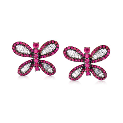 .90 ct. t.w. Ruby and .72 ct. t.w. Diamond Butterfly Earrings in 18kt White Gold