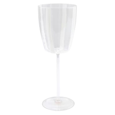 "Vietri ""Stripe White"" Wine Glass from Italy"