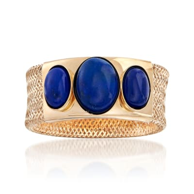 Italian Lapis Three-Stone Mesh Ring in 14kt Yellow Gold