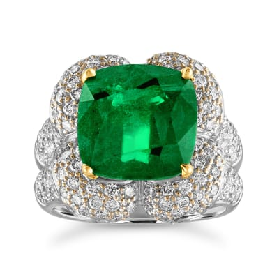 6.75 Carat Zambian Emerald and 2.00 ct. t.w. Diamond Ring in 18kt Two-Tone Gold