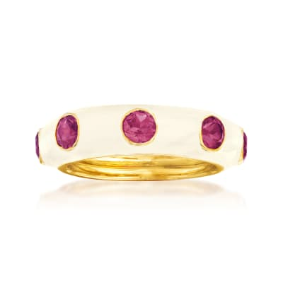 1.50 ct. t.w. Rhodolite Garnet and White Enamel Ring in 18kt Gold Over Sterling