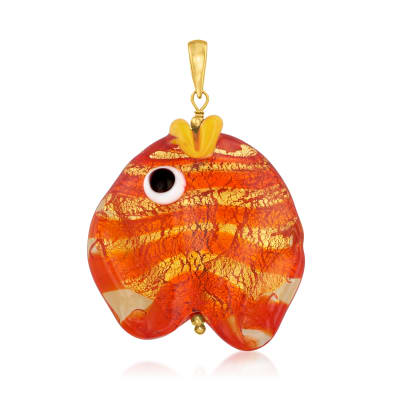 Italian Multicolored Murano Glass Fish Pendant with 18kt Gold Over Sterling