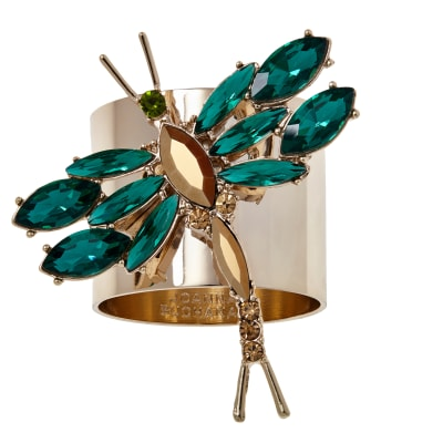 Joanna Buchanan Set of 2 Green Dragonfly Napkin Rings