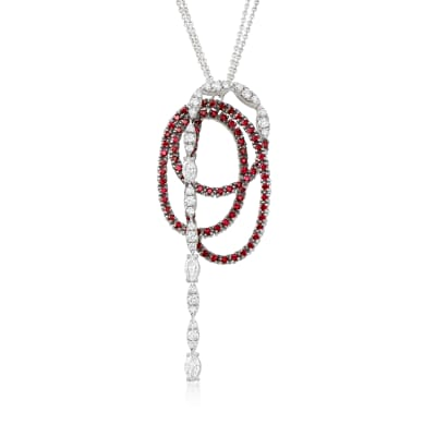 C. 2000 Vintage Stefan Hafner 2.54 ct. t.w. Ruby and 2.12 ct. t.w. Diamond Swirl Necklace in 18kt White Gold