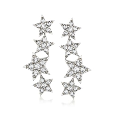 2.20 ct. t.w. White Topaz Star Ear Climbers in Sterling Silver