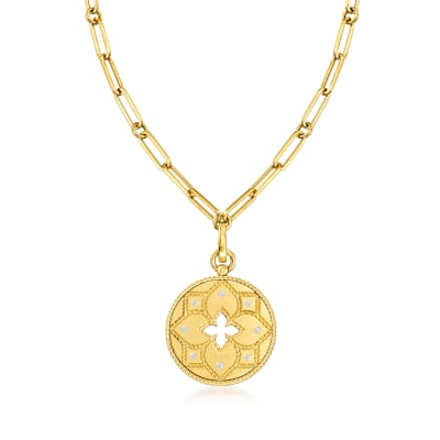 """Roberto Coin """"Venetian Princess"""" .10 ct. t.w.  Diamond Pendant and Paper Clip Link Necklace in 18kt Yellow Gold"""