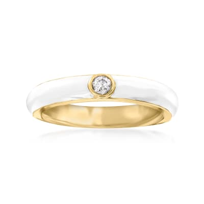 .10 Carat Diamond and White Enamel Ring in 18kt Gold Over Sterling
