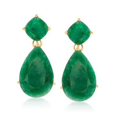 19.20 ct. t.w. Emerald Drop Earrings in 18kt Gold Over Sterling