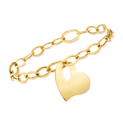 14kt Yellow Gold Personalized Heart Charm Link Bracelet
