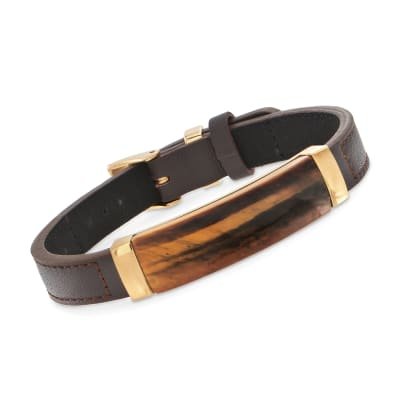 Men's Tigereye Brown Leather Bracelet with Stainless Steel