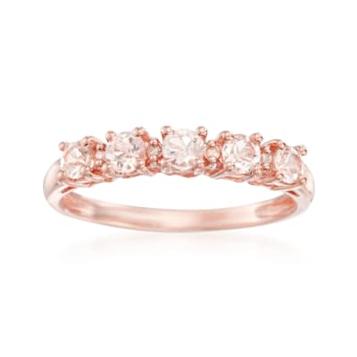 .50 ct. t.w. Morganite Ring with Diamond Accent in 18kt Rose Gold Over Sterling