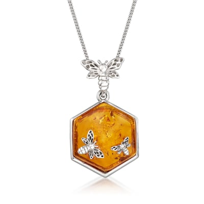 Amber Honeycomb and Bumblebee Pendant Necklace in Sterling Silver