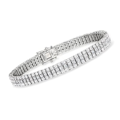 10.00 ct. t.w. Triple-Row Diamond Bracelet in 14kt White Gold