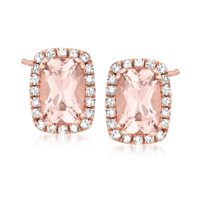 1.08 ct. t.w. Morganite and .17 ct. t.w. Diamond Earrings in 14kt Rose Gold