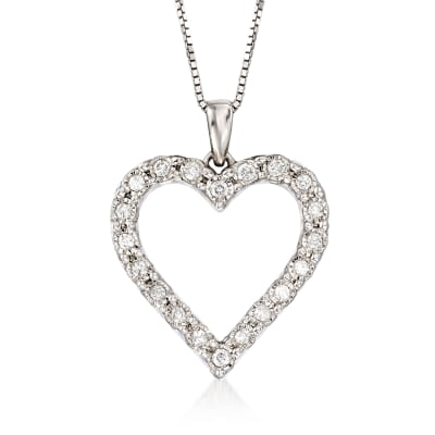 .30 ct. t.w. Diamond Heart Pendant Necklace in Sterling Silver