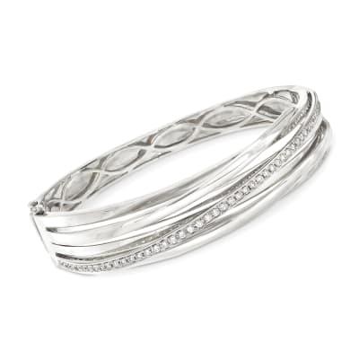 .79 ct. t.w. Diamond Striped Bangle in 14kt White Gold