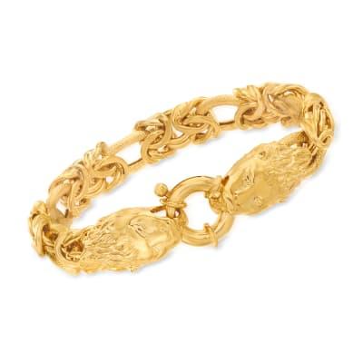 Italian 24kt Gold Over Sterling Double Lion Head Link Bracelet