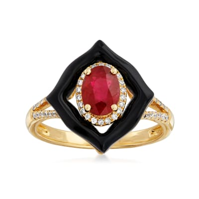 Black Onyx, .90 Carat Ruby and .15 ct. t.w. Diamond Ring in 18kt Yellow Gold
