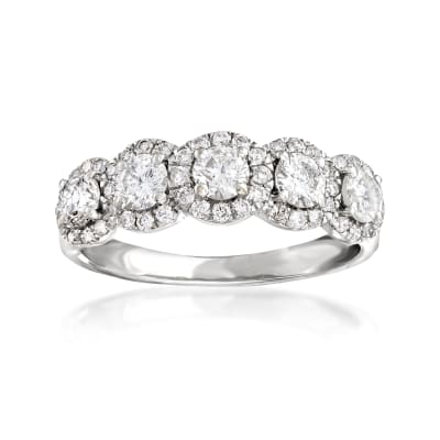 1.00 ct. t.w. Diamond Five-Stone Halo Ring in 14kt White Gold
